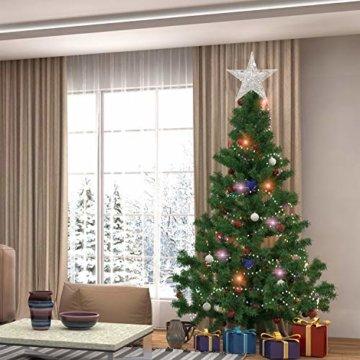 U&X Weihnachtsbaumspitze aus Metall, glitzernd, Weihnachtsbaum-Dekoration, 20,3 cm silber - 7