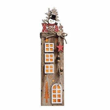 Valery Madelyn 2er 38.4cm LED Holz Säule Weihnachtsdekoration mit LED Beleuchtung Batteriebetriebene Holzsäule Ständer Aufsteller Tisch Weihnachtsdeko Weihnachtschmuck Wald Thema - 3