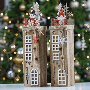 Valery Madelyn 2er 38.4cm LED Holz Säule Weihnachtsdekoration mit LED Beleuchtung Batteriebetriebene Holzsäule Ständer Aufsteller Tisch Weihnachtsdeko Weihnachtschmuck Wald Thema - 4