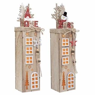 Valery Madelyn 2er 38.4cm LED Holz Säule Weihnachtsdekoration mit LED Beleuchtung Batteriebetriebene Holzsäule Ständer Aufsteller Tisch Weihnachtsdeko Weihnachtschmuck Wald Thema - 1
