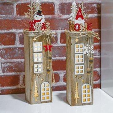 Valery Madelyn 2er 38.4cm LED Holz Säule Weihnachtsdekoration mit LED Beleuchtung Batteriebetriebene Holzsäule Ständer Aufsteller Tisch Weihnachtsdeko Weihnachtschmuck Wald Thema - 5