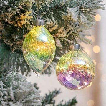 Valery Madelyn 4 Stücke Led Glas Weihnachtskugeln Set Ø 8-10CM Große Irisierendes Glas Christbaumkugeln Lampe Kugel Weihnachtsbaumschmuck Fensterdekoration zum Weihnachten Dekorieren Bunt Thema - 3
