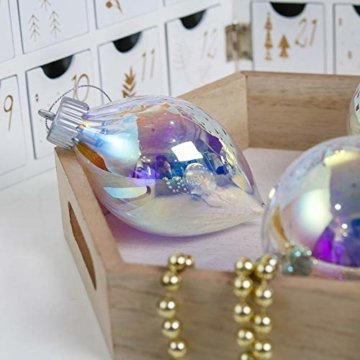 Valery Madelyn 4 Stücke Led Glas Weihnachtskugeln Set Ø 8-10CM Große Irisierendes Glas Christbaumkugeln Lampe Kugel Weihnachtsbaumschmuck Fensterdekoration zum Weihnachten Dekorieren Bunt Thema - 4