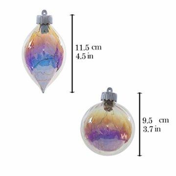 Valery Madelyn 4 Stücke Led Glas Weihnachtskugeln Set Ø 8-10CM Große Irisierendes Glas Christbaumkugeln Lampe Kugel Weihnachtsbaumschmuck Fensterdekoration zum Weihnachten Dekorieren Bunt Thema - 7