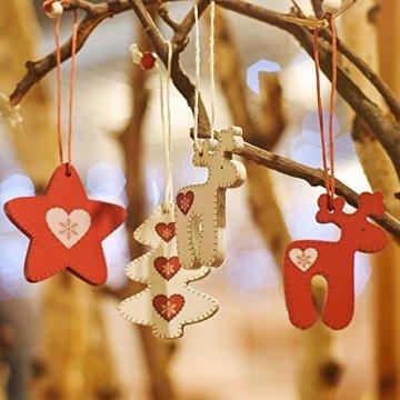 Valery Madelyn Holz Weihnachten Anhänger 24tlg 5,6-6cm Baum Weihnachtsdeko Lieber Weihnachtsmann Thema mit 4 Motiven Tanne Rentier Stern Baumschmuck zum Hängen MEHRWEG Verpackung - 3