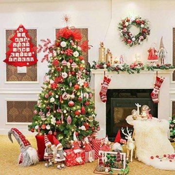 Valery Madelyn Holz Weihnachten Anhänger 24tlg 5,6-6cm Baum Weihnachtsdeko Lieber Weihnachtsmann Thema mit 4 Motiven Tanne Rentier Stern Baumschmuck zum Hängen MEHRWEG Verpackung - 4