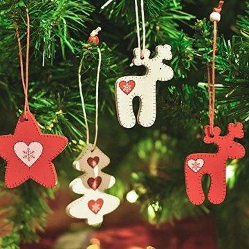 Valery Madelyn Holz Weihnachten Anhänger 24tlg 5,6-6cm Baum Weihnachtsdeko Lieber Weihnachtsmann Thema mit 4 Motiven Tanne Rentier Stern Baumschmuck zum Hängen MEHRWEG Verpackung - 5