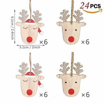 Valery Madelyn Holz Weihnachtsdeko Anhänger 24tlg 6cm Baum Weihnachtsdeko mit 2 Motiven Hirschkopf Rentier Kopf Weihnachtssnhänger Baumschmuck zum Hängen Wald Thema Braun Rot Gold MEHRWEG Verpackung - 3