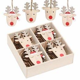 Valery Madelyn Holz Weihnachtsdeko Anhänger 24tlg 6cm Baum Weihnachtsdeko mit 2 Motiven Hirschkopf Rentier Kopf Weihnachtssnhänger Baumschmuck zum Hängen Wald Thema Braun Rot Gold MEHRWEG Verpackung - 1