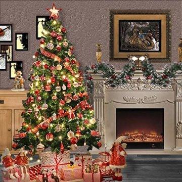Valery Madelyn Holz Weihnachtsdeko Anhänger 24tlg 6cm Baum Weihnachtsdeko mit 2 Motiven Hirschkopf Rentier Kopf Weihnachtssnhänger Baumschmuck zum Hängen Wald Thema Braun Rot Gold MEHRWEG Verpackung - 4