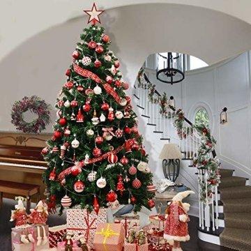 Valery Madelyn Holz Weihnachtsdeko Anhänger 24tlg 6cm Baum Weihnachtsdeko mit 2 Motiven Hirschkopf Rentier Kopf Weihnachtssnhänger Baumschmuck zum Hängen Wald Thema Braun Rot Gold MEHRWEG Verpackung - 5