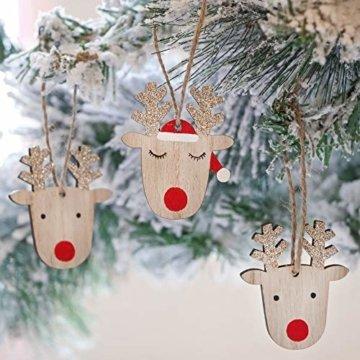 Valery Madelyn Holz Weihnachtsdeko Anhänger 24tlg 6cm Baum Weihnachtsdeko mit 2 Motiven Hirschkopf Rentier Kopf Weihnachtssnhänger Baumschmuck zum Hängen Wald Thema Braun Rot Gold MEHRWEG Verpackung - 6