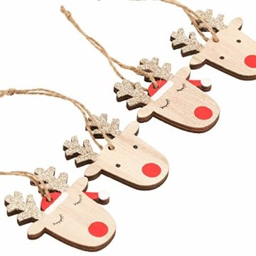 Valery Madelyn Holz Weihnachtsdeko Anhänger 24tlg 6cm Baum Weihnachtsdeko mit 2 Motiven Hirschkopf Rentier Kopf Weihnachtssnhänger Baumschmuck zum Hängen Wald Thema Braun Rot Gold MEHRWEG Verpackung - 7