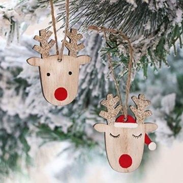 Valery Madelyn Holz Weihnachtsdeko Anhänger 24tlg 6cm Baum Weihnachtsdeko mit 2 Motiven Hirschkopf Rentier Kopf Weihnachtssnhänger Baumschmuck zum Hängen Wald Thema Braun Rot Gold MEHRWEG Verpackung - 8