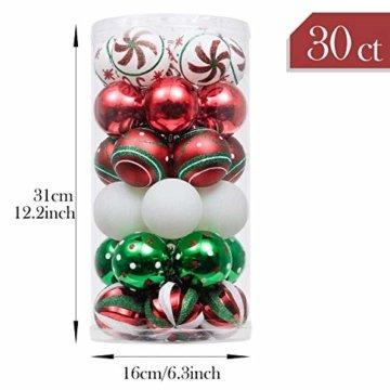 Valery Madelyn Weihnachtskugeln 30 Stücke 6CM Kunststoff Christbaumkugeln Weihnachtsdeko mit Aufhänger Weihnachtsbaumschmuck für Dekoration Klassische Serie Thema Rot Grün Weiß - 3