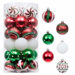 Valery Madelyn Weihnachtskugeln 30 Stücke 6CM Kunststoff Christbaumkugeln Weihnachtsdeko mit Aufhänger Weihnachtsbaumschmuck für Dekoration Klassische Serie Thema Rot Grün Weiß - 1