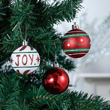 Valery Madelyn Weihnachtskugeln 30 Stücke 6CM Kunststoff Christbaumkugeln Weihnachtsdeko mit Aufhänger Weihnachtsbaumschmuck für Dekoration Klassische Serie Thema Rot Grün Weiß - 4