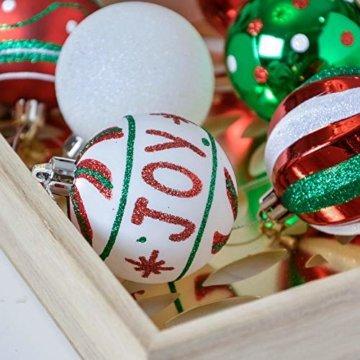 Valery Madelyn Weihnachtskugeln 30 Stücke 6CM Kunststoff Christbaumkugeln Weihnachtsdeko mit Aufhänger Weihnachtsbaumschmuck für Dekoration Klassische Serie Thema Rot Grün Weiß - 6