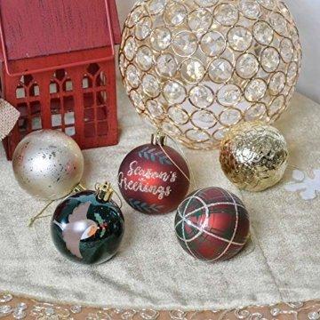 Valery Madelyn Weihnachtskugeln 30 TLG. 6cm Christbaumkugeln Weihnachtsbaumschmuck Bruchsicher Plastik Weihnachten Deko mit Anhänger für Party Weihnachtsdeko Landstraße Thema Rot Grün Gold - 6