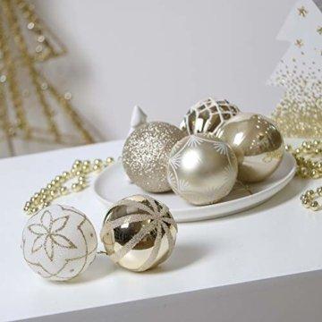 Valery Madelyn Weihnachtskugeln 30 TLG. 6cm Christbaumkugeln Weihnachtsbaumschmuck Bruchsicher Plastik Weihnachten Deko mit Anhänger für Party Weihnachtsdeko Elegant Thema Weiß Gold - 3