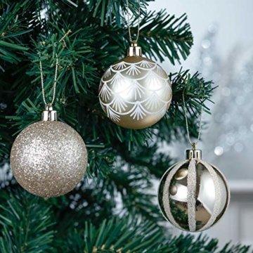 Valery Madelyn Weihnachtskugeln 30 TLG. 6cm Christbaumkugeln Weihnachtsbaumschmuck Bruchsicher Plastik Weihnachten Deko mit Anhänger für Party Weihnachtsdeko Elegant Thema Weiß Gold - 4