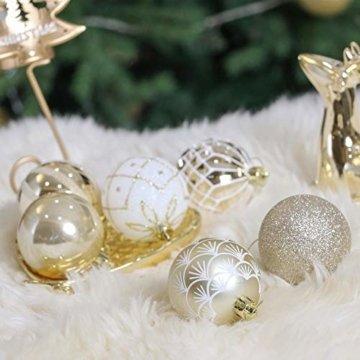 Valery Madelyn Weihnachtskugeln 30 TLG. 6cm Christbaumkugeln Weihnachtsbaumschmuck Bruchsicher Plastik Weihnachten Deko mit Anhänger für Party Weihnachtsdeko Elegant Thema Weiß Gold - 6