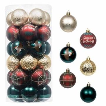Valery Madelyn Weihnachtskugeln 30 TLG. 6cm Christbaumkugeln Weihnachtsbaumschmuck Bruchsicher Plastik Weihnachten Deko mit Anhänger für Party Weihnachtsdeko Landstraße Thema Rot Grün Gold - 1