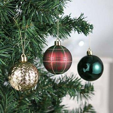 Valery Madelyn Weihnachtskugeln 30 TLG. 6cm Christbaumkugeln Weihnachtsbaumschmuck Bruchsicher Plastik Weihnachten Deko mit Anhänger für Party Weihnachtsdeko Landstraße Thema Rot Grün Gold - 2
