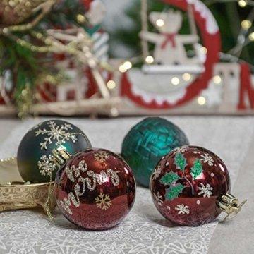Valery Madelyn Weihnachtskugeln 30 TLG. 6cm Christbaumkugeln Weihnachtsbaumschmuck Bruchsicher Plastik Weihnachten Deko mit Anhänger für Party Weihnachtsdeko Landstraße Thema Rot Grün Gold - 3