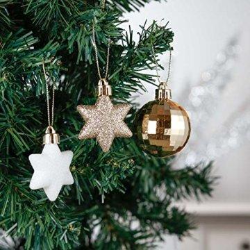 Valery Madelyn Weihnachtskugeln 35tlg. 5cm Plastik Christbaumkugeln Set, Weihnachtsbaumschmuck Dekoration Christbaumschmuck für Haus Dekoration Elegant Thema Weiß Gold - 2