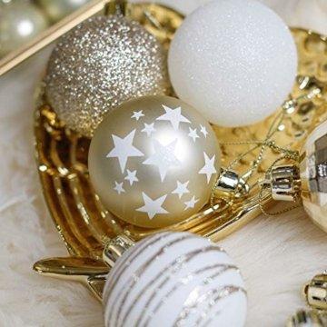 Valery Madelyn Weihnachtskugeln 35tlg. 5cm Plastik Christbaumkugeln Set, Weihnachtsbaumschmuck Dekoration Christbaumschmuck für Haus Dekoration Elegant Thema Weiß Gold - 4