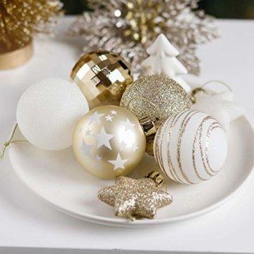 Valery Madelyn Weihnachtskugeln 35tlg. 5cm Plastik Christbaumkugeln Set, Weihnachtsbaumschmuck Dekoration Christbaumschmuck für Haus Dekoration Elegant Thema Weiß Gold - 6