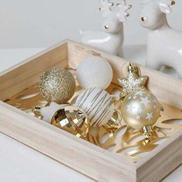 Valery Madelyn Weihnachtskugeln 35tlg. 5cm Plastik Christbaumkugeln Set, Weihnachtsbaumschmuck Dekoration Christbaumschmuck für Haus Dekoration Elegant Thema Weiß Gold - 7