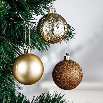 Valery Madelyn Weihnachtskugeln 50 Stücke 6CM Kunststoff Christbaumkugeln Weihnachtsdeko mit Aufhänger Weihnachtsbaumschmuck für Weihnachtsdekoration Wald Basiskugel Thema Kupfergold - 4