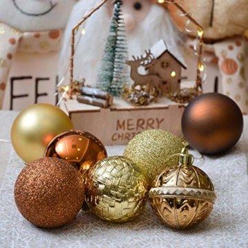 Valery Madelyn Weihnachtskugeln 50 Stücke 6CM Kunststoff Christbaumkugeln Weihnachtsdeko mit Aufhänger Weihnachtsbaumschmuck für Weihnachtsdekoration Wald Basiskugel Thema Kupfergold - 6
