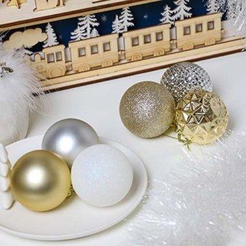 Valery Madelyn Weihnachtskugeln 50 Stücke 6CM Kunststoff Christbaumkugeln Weihnachtsdeko mit Aufhänger Weihnachtsbaumschmuck für Weihnachtsdekoration Elegant Basiskugel Thema Gold Weiß - 3
