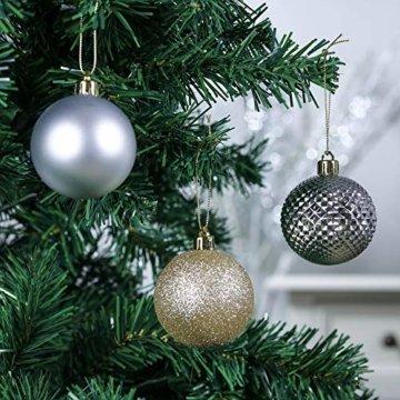 Valery Madelyn Weihnachtskugeln 50 Stücke 6CM Kunststoff Christbaumkugeln Weihnachtsdeko mit Aufhänger Weihnachtsbaumschmuck für Weihnachtsdekoration Elegant Basiskugel Thema Gold Weiß - 6