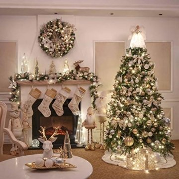 Valery Madelyn Weihnachtskugeln 50 Stücke 6CM Kunststoff Christbaumkugeln Weihnachtsdeko mit Aufhänger Weihnachtsbaumschmuck für Weihnachtsdekoration Elegant Basiskugel Thema Gold Weiß - 7