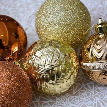 Valery Madelyn Weihnachtskugeln 50 Stücke 6CM Kunststoff Christbaumkugeln Weihnachtsdeko mit Aufhänger Weihnachtsbaumschmuck für Weihnachtsdekoration Wald Basiskugel Thema Kupfergold - 3
