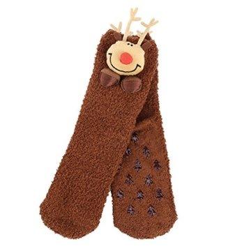 VBIGER Damen & Herren Weihnachten Socken Winter Socken Rutschfeste Griff Boden Socken - 3