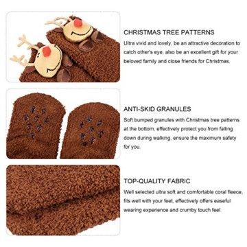 VBIGER Damen & Herren Weihnachten Socken Winter Socken Rutschfeste Griff Boden Socken - 4