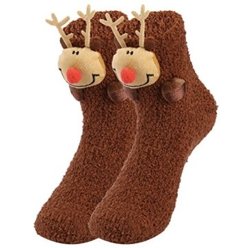VBIGER Damen & Herren Weihnachten Socken Winter Socken Rutschfeste Griff Boden Socken - 1