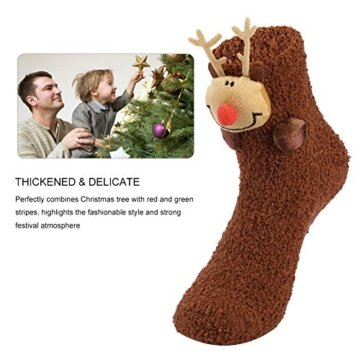 VBIGER Damen & Herren Weihnachten Socken Winter Socken Rutschfeste Griff Boden Socken - 7