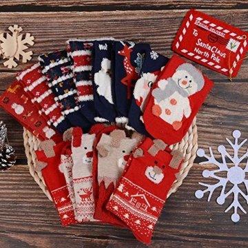Vertvie 12 Paar Unisex Weihnachtssocken Christmas Socks Weihnachtsmotiv Weihnachten Festlicher Baumwolle Socken Mix Design für Damen und Herren (One Size, 12er Pack02) - 2