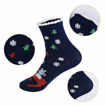 Vertvie 12 Paar Unisex Weihnachtssocken Christmas Socks Weihnachtsmotiv Weihnachten Festlicher Baumwolle Socken Mix Design für Damen und Herren (One Size, 12er Pack02) - 3