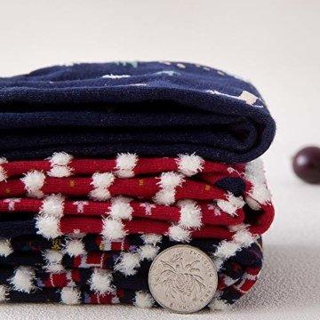 Vertvie 12 Paar Unisex Weihnachtssocken Christmas Socks Weihnachtsmotiv Weihnachten Festlicher Baumwolle Socken Mix Design für Damen und Herren (One Size, 12er Pack02) - 4