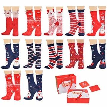 Vertvie 12 Paar Unisex Weihnachtssocken Christmas Socks Weihnachtsmotiv Weihnachten Festlicher Baumwolle Socken Mix Design für Damen und Herren (One Size, 12er Pack02) - 1