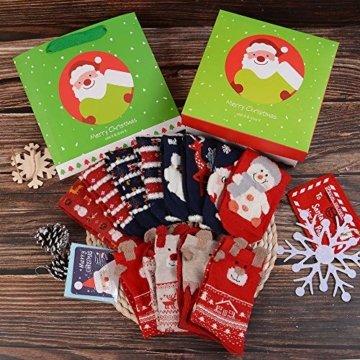 Vertvie 12 Paar Unisex Weihnachtssocken Christmas Socks Weihnachtsmotiv Weihnachten Festlicher Baumwolle Socken Mix Design für Damen und Herren (One Size, 12er Pack02) - 5