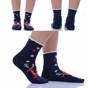 Vertvie 12 Paar Unisex Weihnachtssocken Christmas Socks Weihnachtsmotiv Weihnachten Festlicher Baumwolle Socken Mix Design für Damen und Herren (One Size, 12er Pack02) - 6