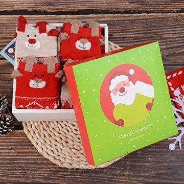 Vertvie 12 Paar Unisex Weihnachtssocken Christmas Socks Weihnachtsmotiv Weihnachten Festlicher Baumwolle Socken Mix Design für Damen und Herren (One Size, 12er Pack02) - 7